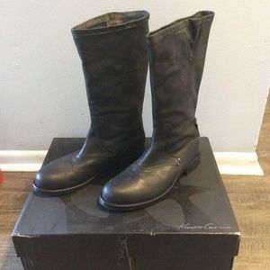 New! Kenneth Cole Italian Black Leather Boots, 9.5